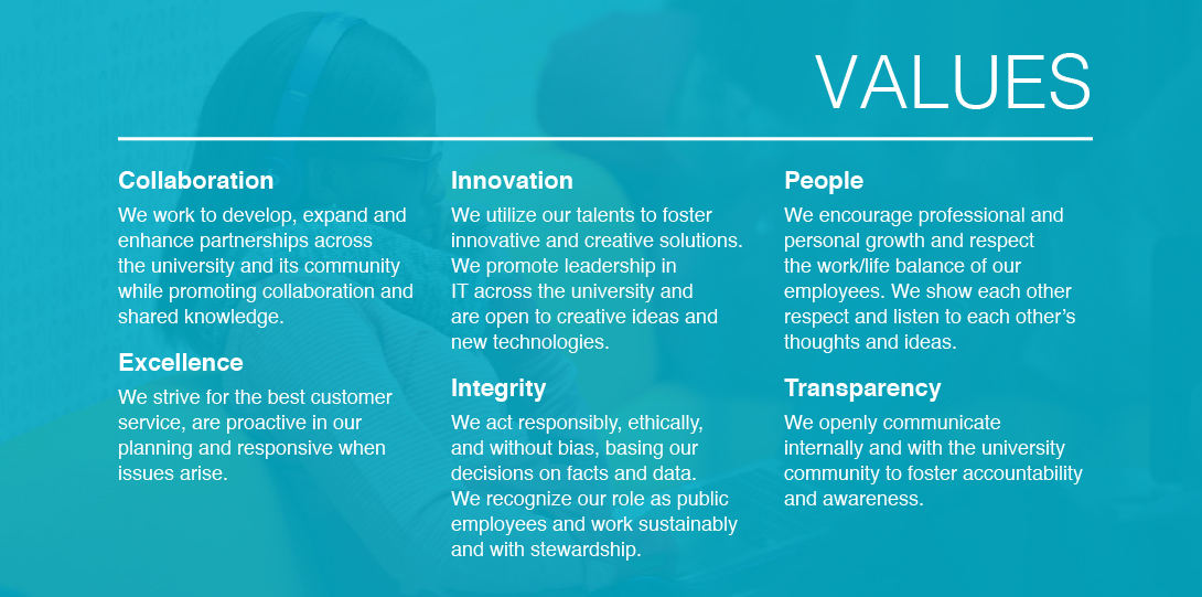 Values: Collaboration, Excellence, Innovation, Integrity, People and Transparency
