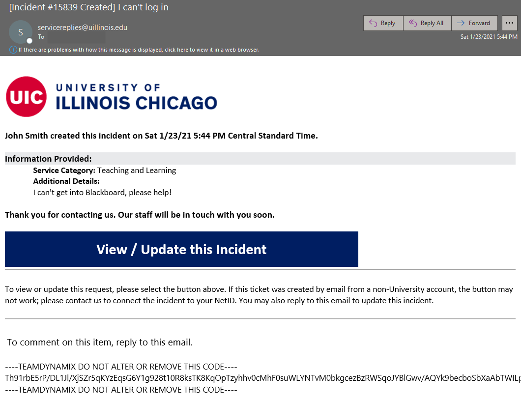 Example email template from UIC Help Center