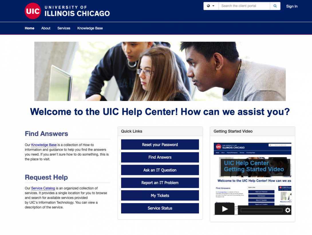 UIC Help Center home page
