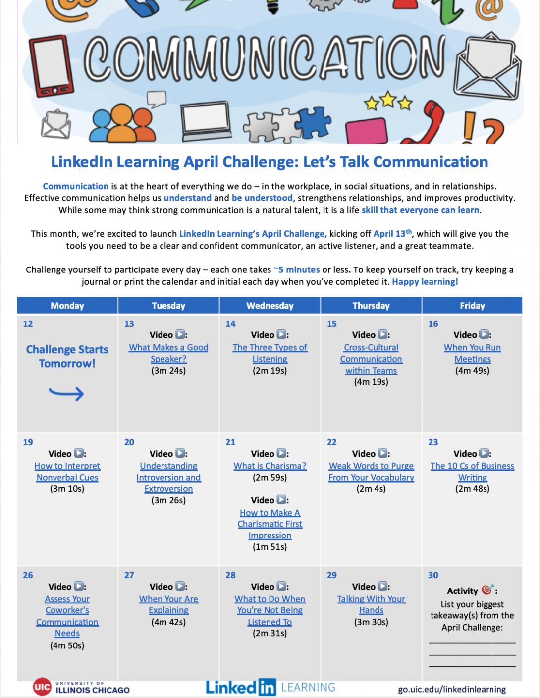 April LinkedIn Learning Challenge Calendar