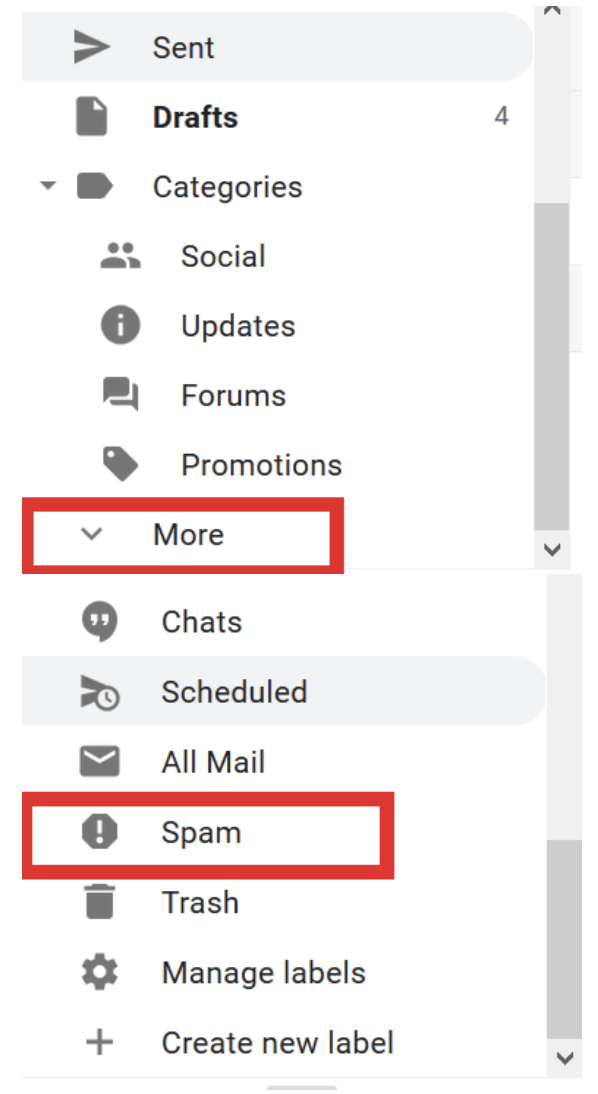 Junk Email folder in Gmail