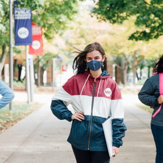 UIC Students on campus with masks