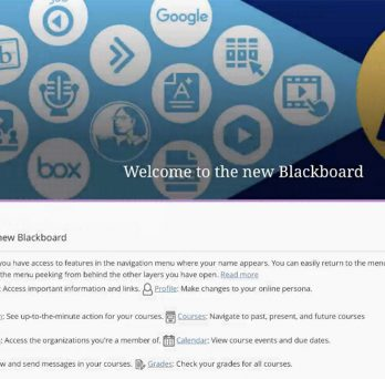 New Blackboard Landing Page featuring a sidebar with My Courses, and more.
