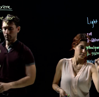 Two people using the ACCC Lightboard Studio. Writing on the lighboard studio in neon markers.