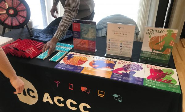 The ACCC table at Winter Involvement Fair included giveaways like lip balm, tote bags and more.
