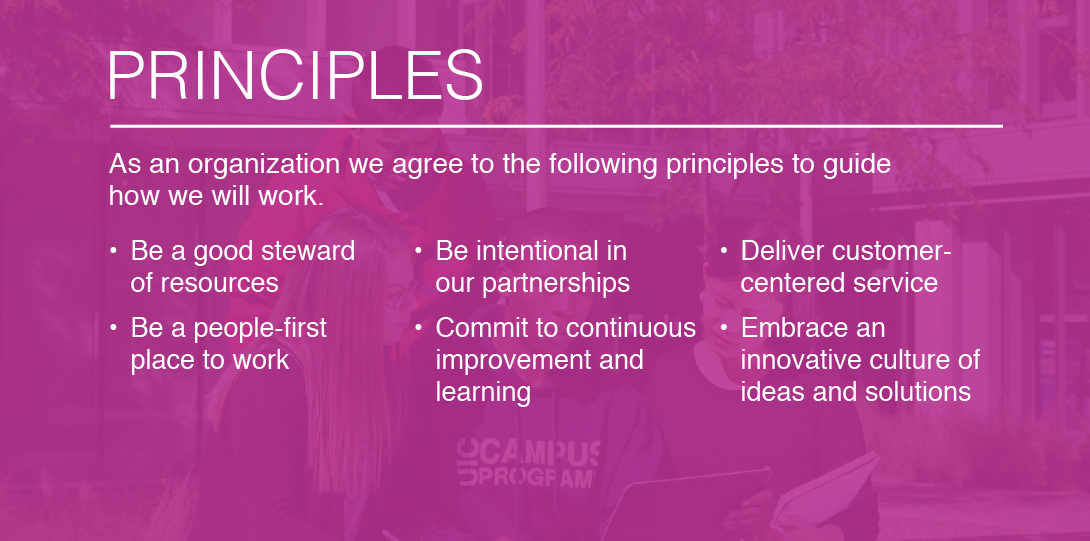 PRINCIPLES: As an organization we agree to the following principles to guide how we will work. Deliver customer-centered service, embrace an innovative culture of ideas and solutions, be a good steward of resources, be intentional in our partnerships, commit to continuous improvement and learning, be a people-first place to work