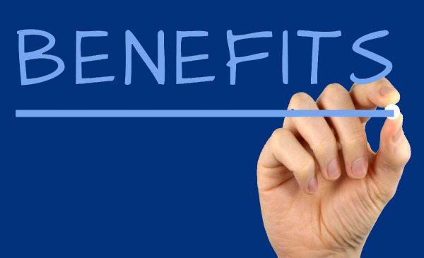 Benefits written on chalkboard