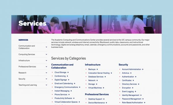 Services page on ACCC website