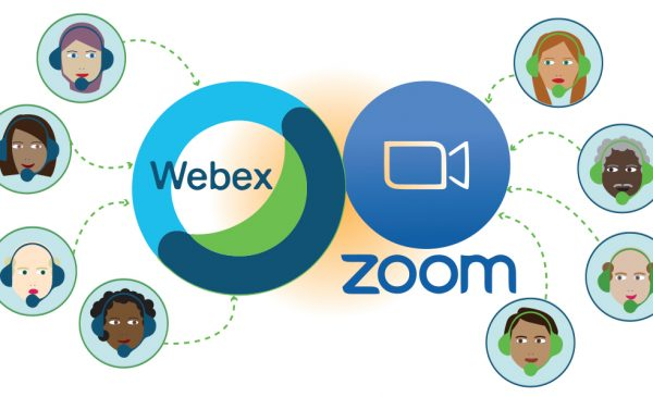 Illustration of people with headsets connecting to Webex and Zoom Online Collaboration Tools