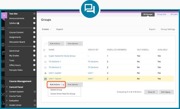 Blackboard Groups Screenshot