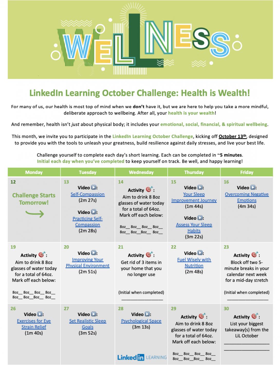 LinkedIn Learning Calendar